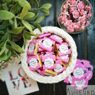 Цветы подарки шоколад с лого